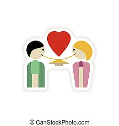 stylish paper sticker on white background lovers eating
