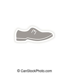 stylish paper sticker on white background man's shoes