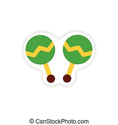 stylish paper sticker on white background maracas