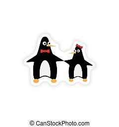 stylish paper sticker on white background penguins