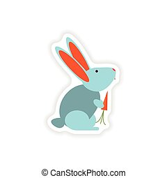 stylish paper sticker on white background rabbit