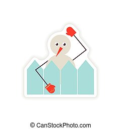 stylish paper sticker on white background snowman