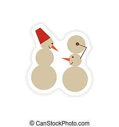 stylish paper sticker on white background Snowmen