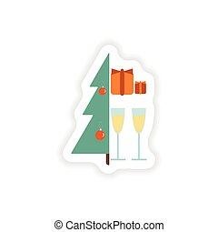 stylish paper sticker on white background Tree gifts glasses