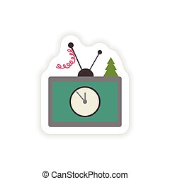 stylish paper sticker on white background TV Christmas Tree