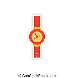 stylish paper sticker on white background watch
