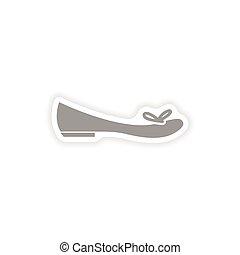 stylish paper sticker on white background women's shoe