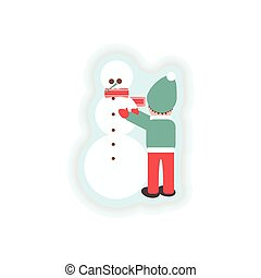 stylish paper sticker on white background Child snowman