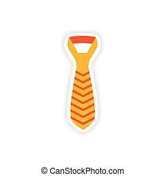 stylish paper sticker on white background tie