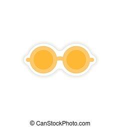 stylish paper sticker on white background glasses