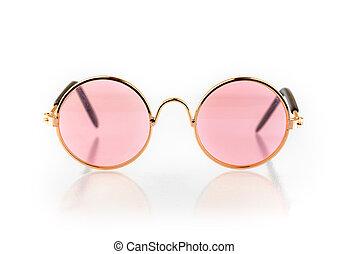 Stylish pink glasses isolated on white background