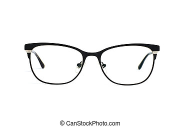 Stylish popular black glasses with diopters isolated on white background
