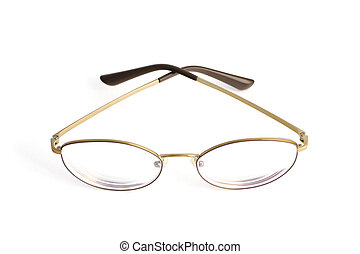 Stylish popular thin round glasses with diopters isolated on white background