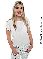 Stylish portrait of a fashionable happy teen girl