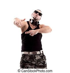 stylish rap artist with black glasses. isolated on white background.