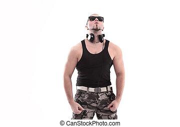 stylish rap artist with black glasses. isolated on white background.