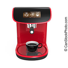 Stylish red coffee machine