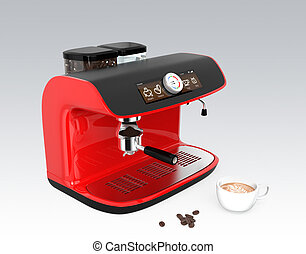 Stylish red espresso coffee machine