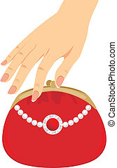 Stylish red female purse. Vector illustration