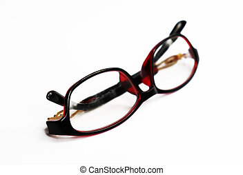 Stylish Red frame glasses isolated on white background. Red frame glasses