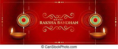stylish red happy raksha bandhan traditional festival banner