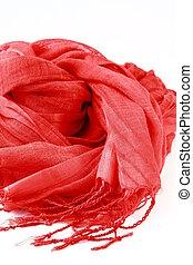 stylish red scarf woman