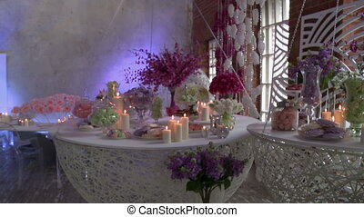 Stylish restaurant decorated for wedding