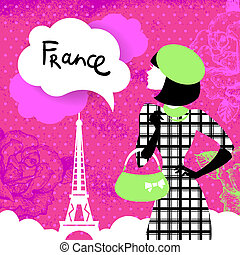 Stylish retro background with shopping woman silhouette in France. Vintage elegant design with hand drawn flowers and symbol of Paris - Eiffel Tower