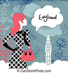 Stylish retro background with shopping woman silhouette in France. Vintage elegant design with hand drawn flowers and symbol of London – Big Ben
