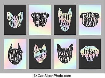 Stylish retro hipster set templates with dog breeds, calligraphy hologram