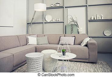 stylish retro living room - Interior of stylish retro living...