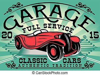 retro poster with a car for the service station - stylish ...