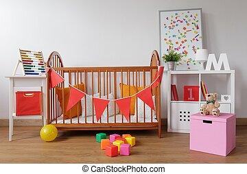 Stylish room for babygirl