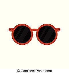 Stylish Rounded Eyeglasses Black Vector Illustration Object Design