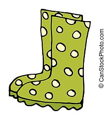 Stylish rubber boots icon in cartoon style isolated on white background illustration