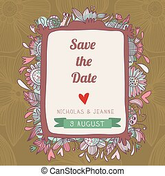 Stylish save the date card. Cute wedding invitation in vector with romantic elements and  place for your text