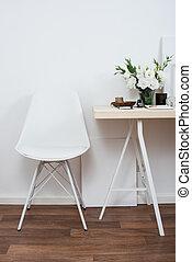 Stylish scandinavian interior design, white workspace