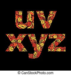 Stylish script with herbal season ornament. Eco theme font with floral pattern, u, v, x, y, z.