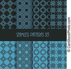 Stylish seamless pattern set. Decorative line tile backgrounds