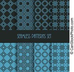 Stylish seamless pattern set. Decorative line tile backgrounds