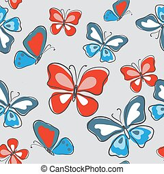 Stylish seamless pattern with butterflies on a gray background