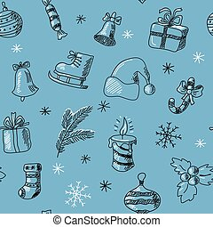 Stylish seamless pattern with hand-drawn New Year objects -...