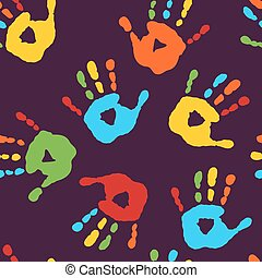 Stylish seamless pattern with prints of children's hands