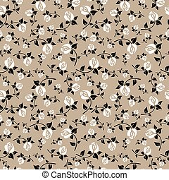 Stylish seamless pattern with white roses on a beige background