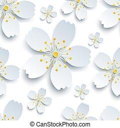 Stylish seamless pattern with white sakura flowers