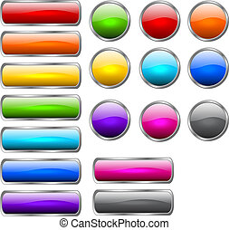 Stylish shiny buttons - Set of colored buttons in the shapes...