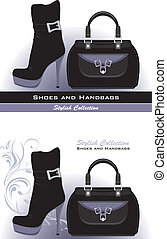 Stylish shoes and handbags. Banner for design. Vector...