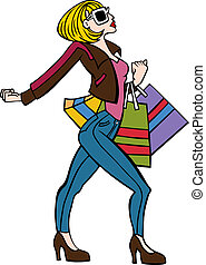Cartoon of a fashionable woman walking with attitude holding shopping bags.