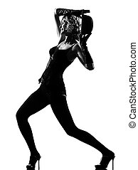 stylish silhouette woman dancing cabaret