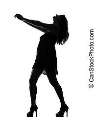 stylish silhouette woman dancing full length